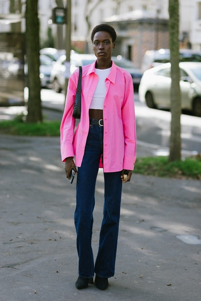 PARIS, FRANCE - OCTOBER 04: A model poses after the Stella McCartney show at the Espace Niemeyer dur...