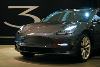Tesla 3 at Stanford Shopping Center in Palo Alto, Calif., on Thursday, January 11, 2018. (Photo by S...