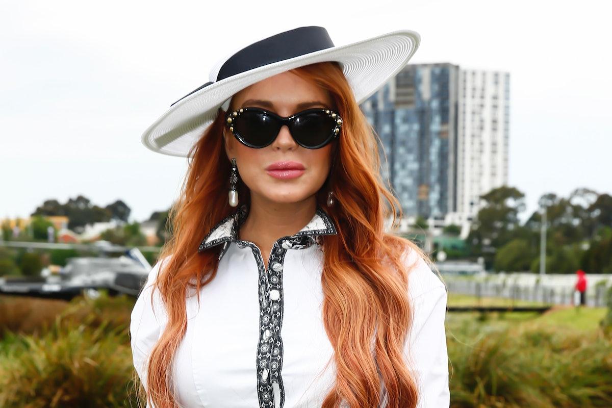 MELBOURNE, AUSTRALIA - NOVEMBER 02: Lindsay Lohan attends Derby Day at Flemington Racecourse on Nove...