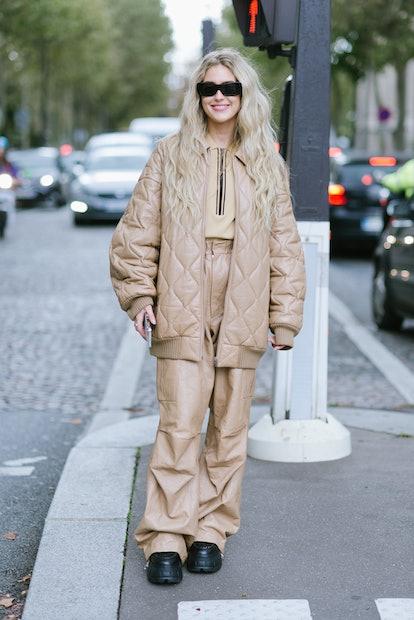 PARIS, FRANCE - OCTOBER 05: Emili Sindlev poses wearing Miu Miu after the Miu Miu show at the Palais...