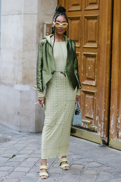 PARIS, FRANCE - SEPTEMBER 29: A guest poses after the Cecilie Bahnsen presentation during Paris Fash...