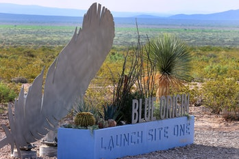 VAN HORN, TEXAS - JULY 19: The sign outside of Jeff Bezos' Blue Origin operations in West Texas on J...