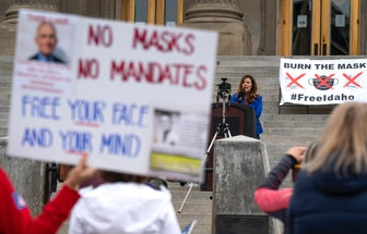 BOISE, ID - MARCH 06: Idaho Lieutenant Governor Janice McGeachin speaks during a mask burning event ...