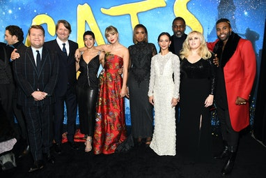NEW YORK, NEW YORK - DECEMBER 16: James Corden, Tom Hooper, Mette Towley, Taylor Swift, Jennifer Hud...