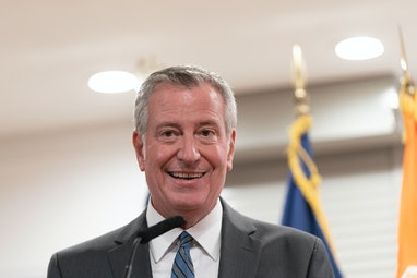 NEW YORK, UNITED STATES - 2021/09/27: Mayor Bill de Blasio speaks during press availability after he...