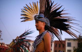 BLOOMINGTON, INDIANA, UNITED STATES - 2019/10/14: Mexica (Aztec) dancer, Alejandro Quintana, of Indi...