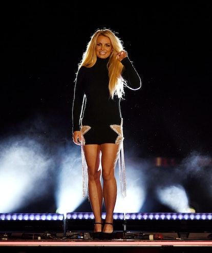 Britney Spears appears on-stage in Las Vegas.