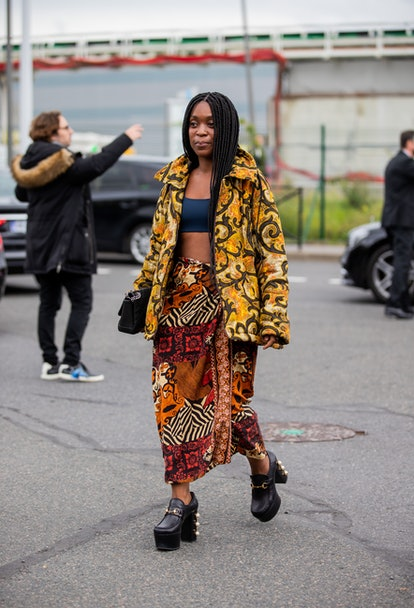 PARIS, FRANCE - OCTOBER 02: A guest is seen outside Hermes during Paris Fashion Week - Womenswear Sp...