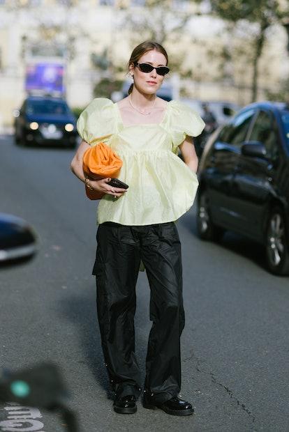 PARIS, FRANCE - SEPTEMBER 29: Annabel Rosendahl poses wearing Cecilie Bahnsen after the Cecilie Bahn...