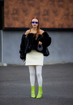 PARIS, FRANCE - SEPTEMBER 30: Courtney Trop outside Coperni during Paris Fashion Week - Womenswear S...