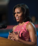 First Lady Michelle Obama speaks to the democratic delegates at the Time Warner Cable Arena during t...