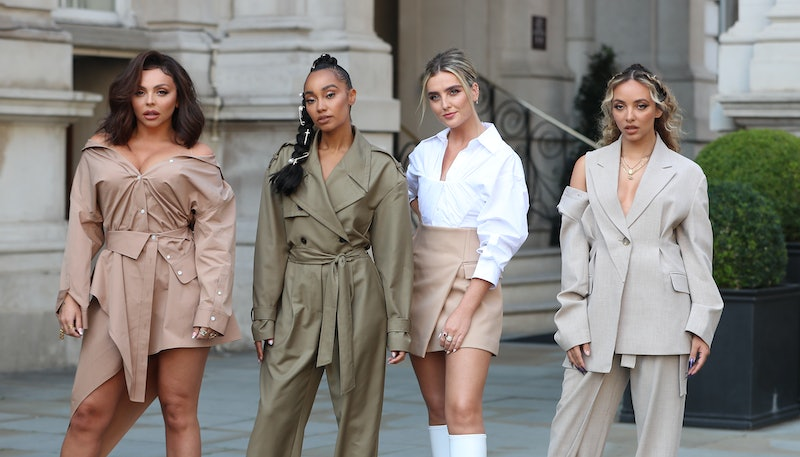 LONDON, ENGLAND - SEPTEMBER 15: Little Mix seen leaving the Langham Hotel ahead of their performance...