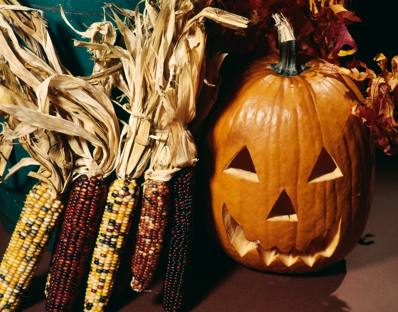 1970s HALLOWEEN CARVED PUMPKIN JACK-O'-LANTERN FACE. Here are creepy facts about Halloween's history...
