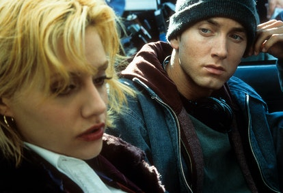 Eminem looks over at Brittany Murphy in a scene from the film '8 Mile.'