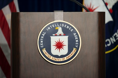The lectern stands empty as reporters await the arrival of Director of Central Intelligence Agency J...