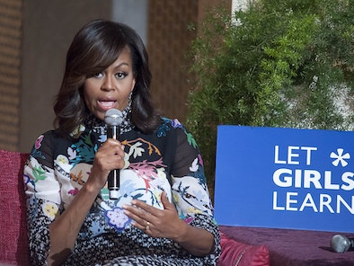 MARRAKECH, MOROCCO - JUNE 28: The US President Barrack Obama' s wife Michelle Obama delivers a speec...