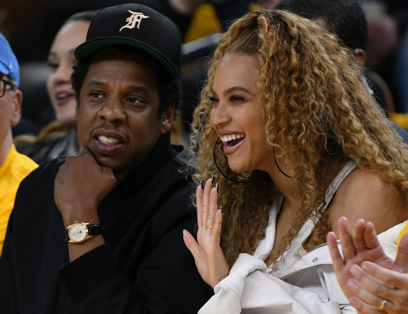 OAKLAND, CA - APRIL 29: Jay-Z and Beyonce sit court side as the Golden State Warriors take on the Ne...