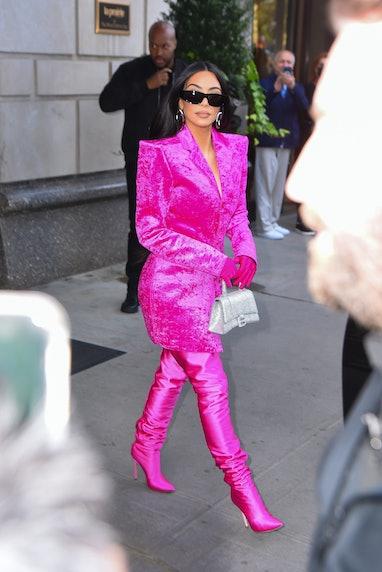 NEW YORK, NEW YORK - OCTOBER 07: Kim Kardashian is seen in Manhattan on October 07, 2021 in New York...