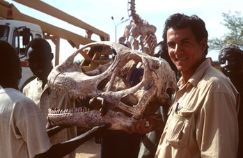 (Original Caption) A reconstruction of the dinosaur skeleton made of resin has also been presented t...