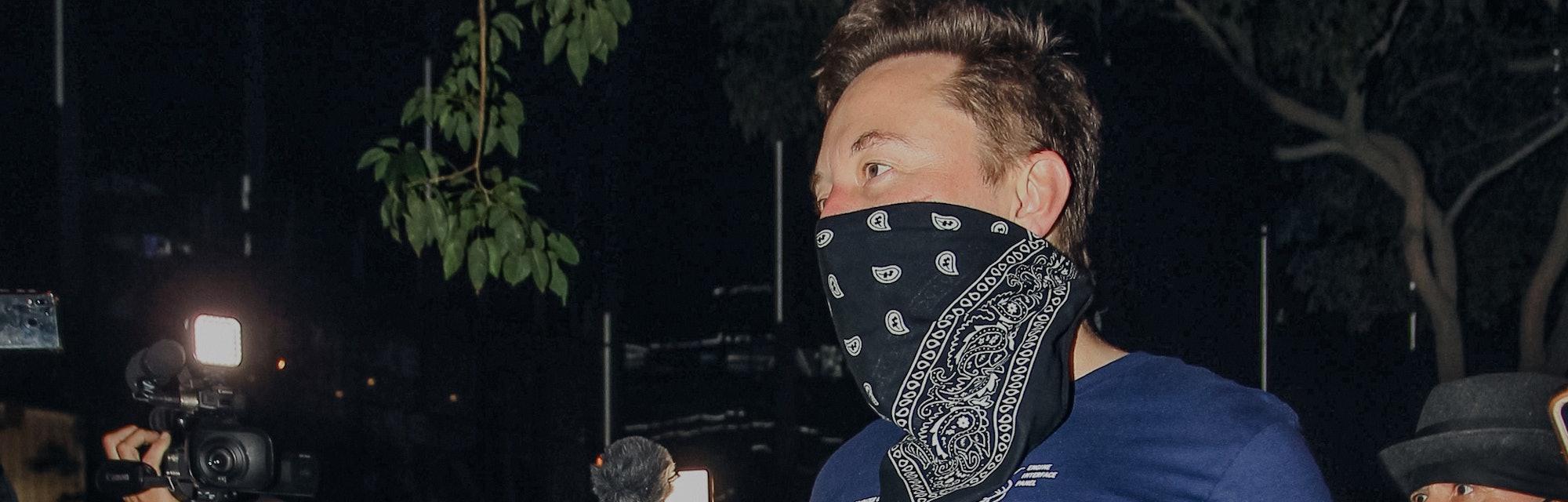 LOS ANGELES, CA - OCTOBER 23: Elon Musk is seen on October 23, 2020 in Los Angeles, California.  (Ph...