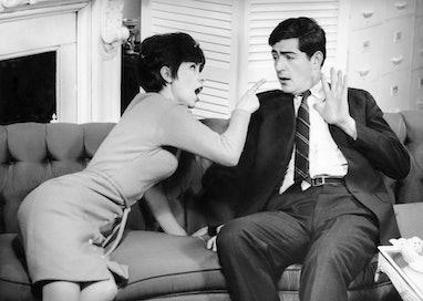 UNITED STATES - CIRCA 1950s:  Couple having heated domestic quarrel.