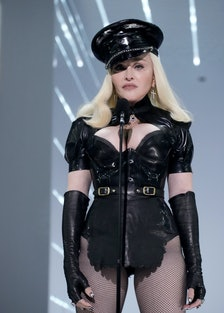 Madonna speaks onstage during the 2021 MTV Video Music Awards