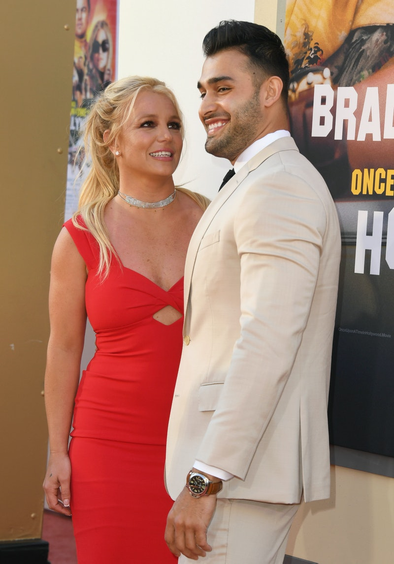 """HOLLYWOOD, CALIFORNIA - JULY 22:  Britney Spears and Sam Asghari attend Sony Pictures' """"Once Upon A ..."""