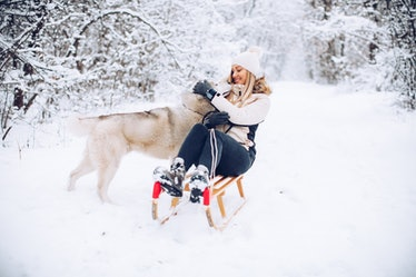 A happy woman sits on her sled and plays with her husky on a snow day.