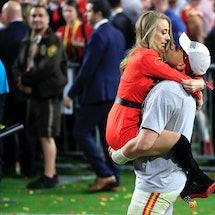 Kansas City Chiefs quarterback Patrick Mahomes with fiancée Brittany Matthews Photo via Andy Lyons/G...