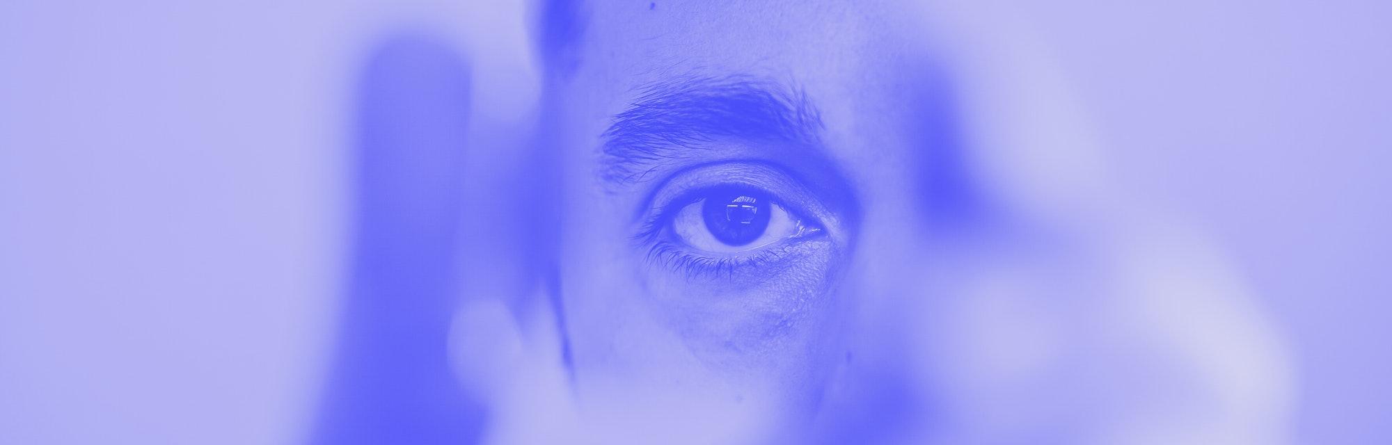 man looking in mirror photo illustration