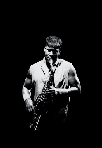 clarence clemons playing the saxophone