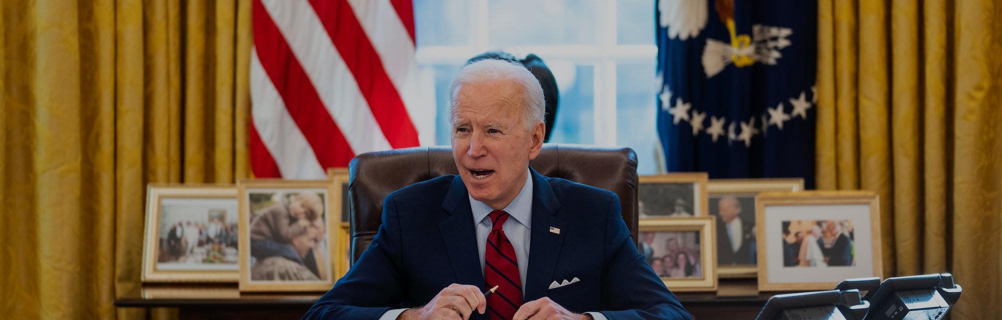 President Joe Biden is seen at the White House.