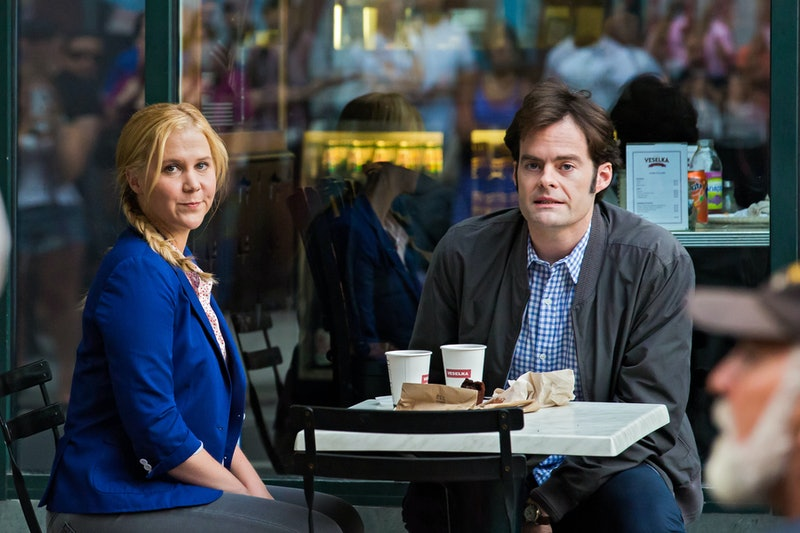 Amy Schumer and Bill Hader on the set of 'Trainwreck' in New York City. Photo via Getty Images