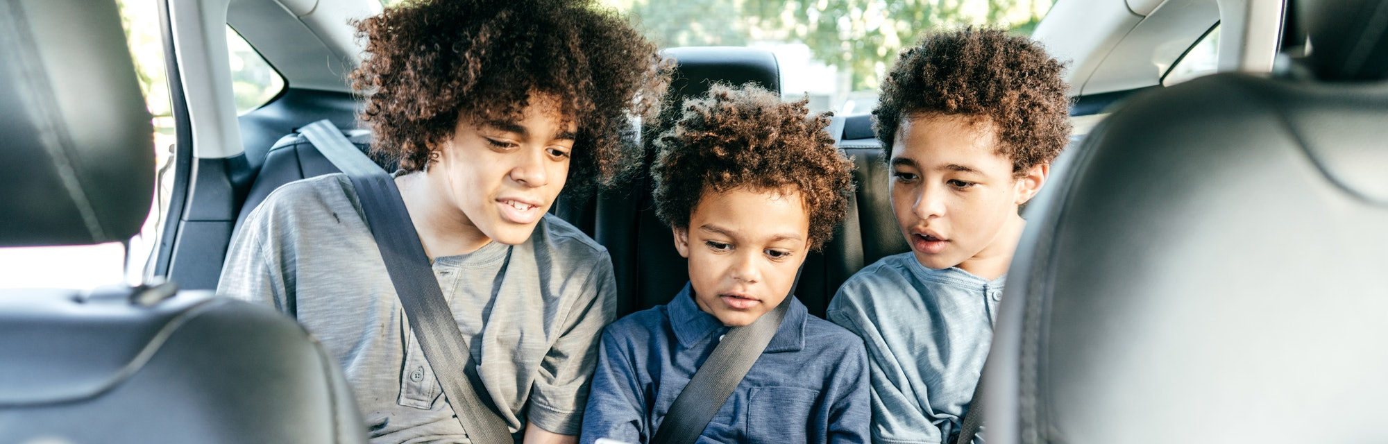 three brothers in backseat of car