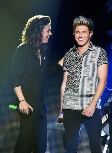 Harry Styles and Niall Horan chat onstage.