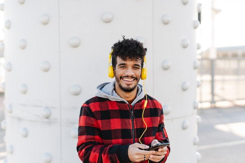 man, smiling, music, headphones