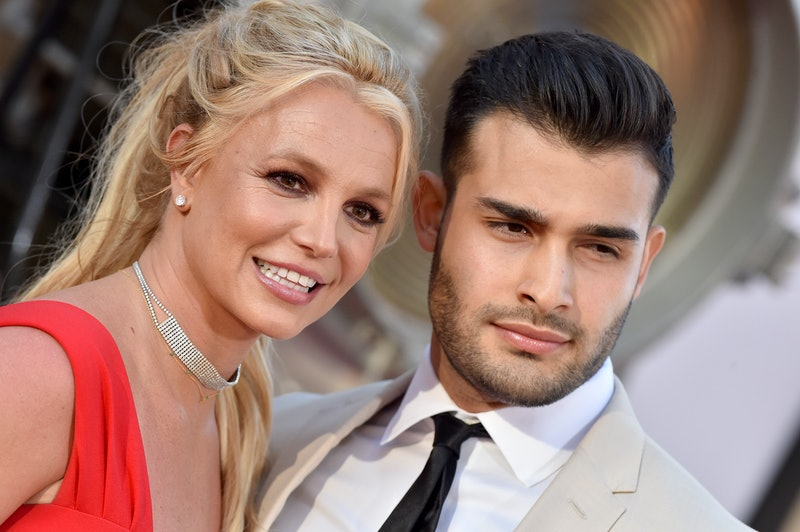 Britney Spears and Sam Asghari at the 'Once Upon a Time in Hollywood' premiere. Photo via Getty Images