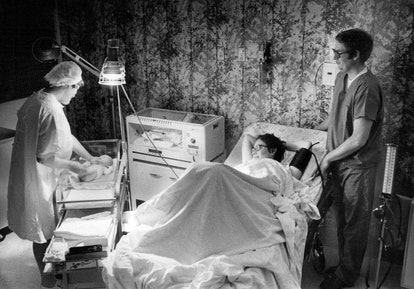 Partners being allowed in labor and delivery rooms didn't happen until the 1970s.