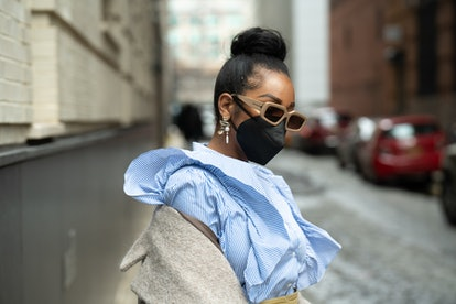 Ashley Weddington poses outside of Spring Studios during New York Fashion Week: The Shows on February 16, 2021 in New York City.