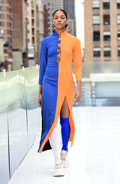 A runway look from Dawang at New York Fashion Week.