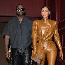 Kanye West and Kim Kardashian at New York Fashion Week in 2020. Photo via Getty Images