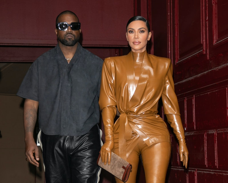 Kanye West and Kim Kardashian at New York Fashion Week in 2020. Photo via Getty Images