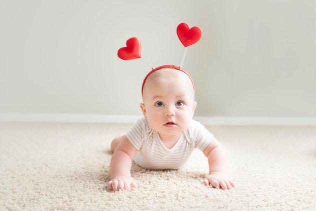 baby with heart headband