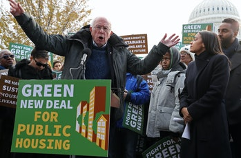 Bernie Sanders and Alexandria Ocasio-Cortez introduce the Green New Deal at a press conference outside the Capitol building.