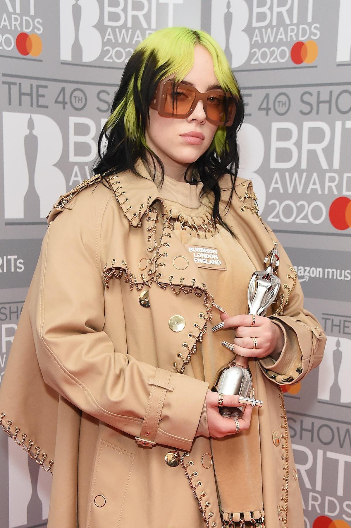 Billie Eilish attends the 2020 Brit Awards.