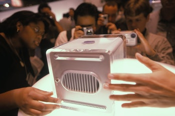 A photo of Apple's previous G4 Cube.