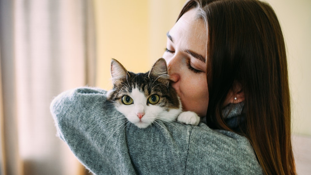 A woman kisses her cat on its head while holding it.