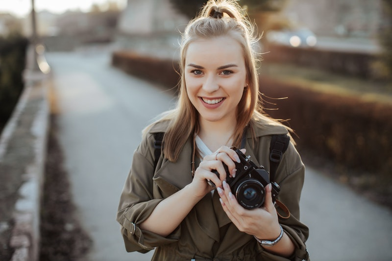woman, travel, camera