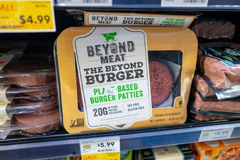 A packet for Beyond Meat's plant-based burger patty is seen at a grocery store.