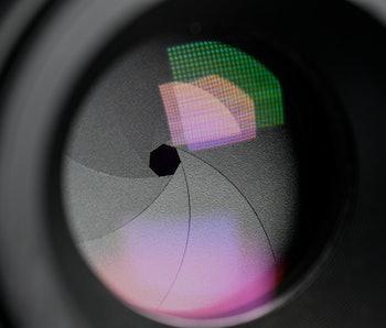 A close up of a camera lens.